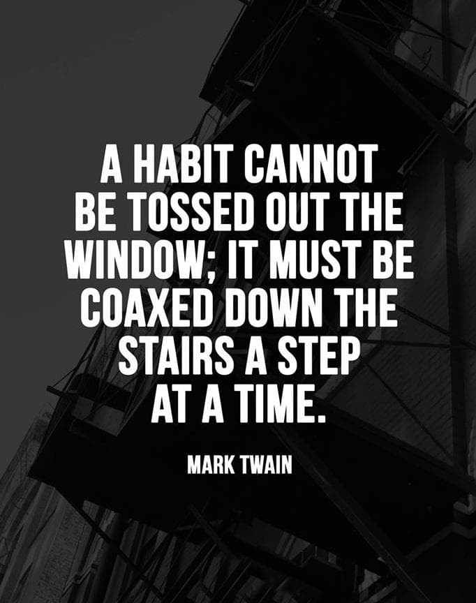 A habit cannot be tossed out the window; it must be coaxed down the stairs a step at a time.  – Mark Twain