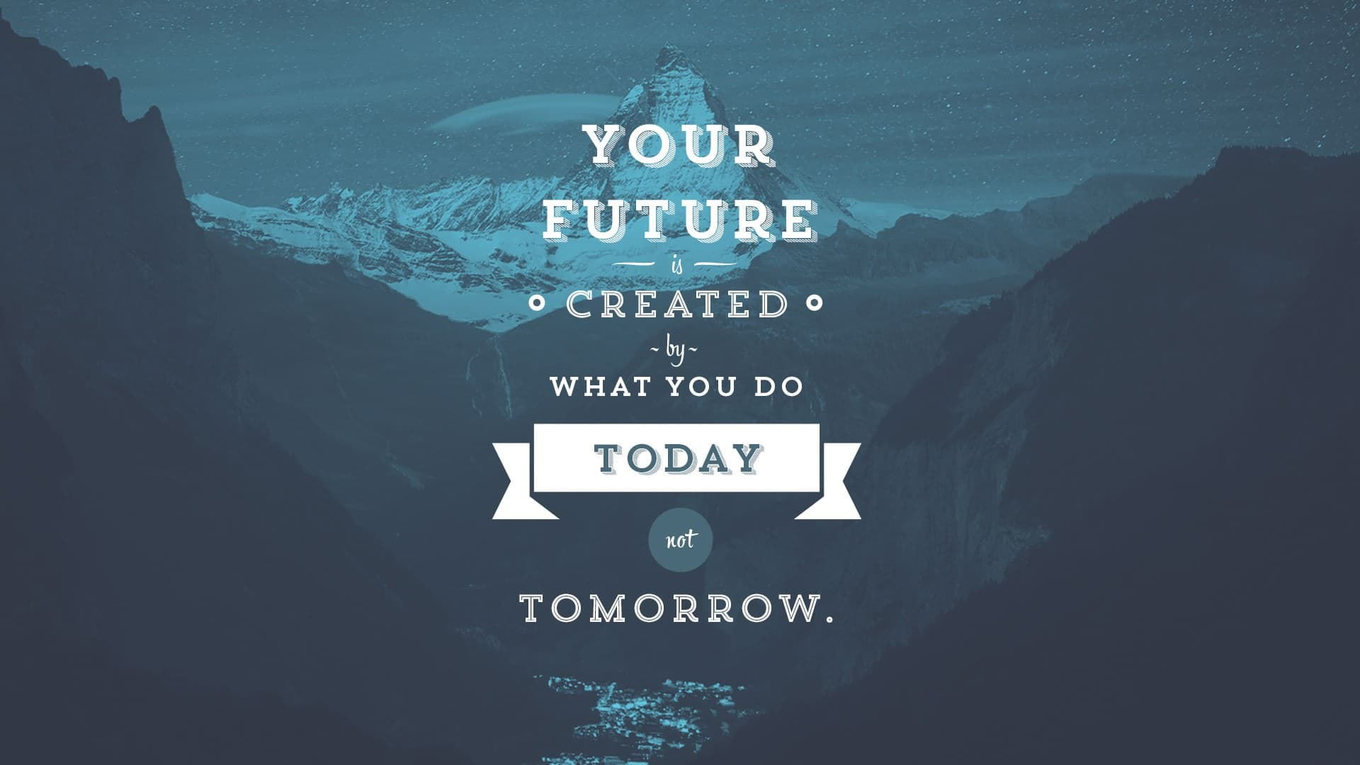 Your future is created by what you do today no tomorrow.