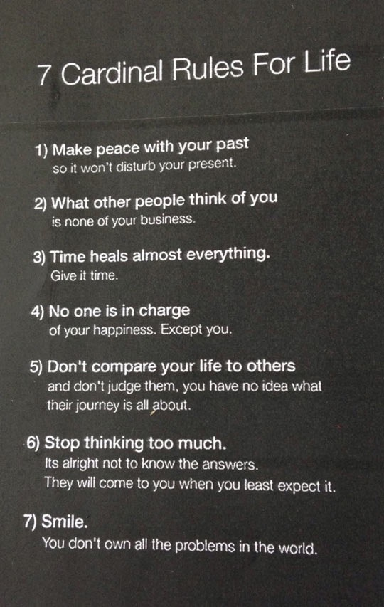 [Image] just let it go, 7 cardinal rules for life