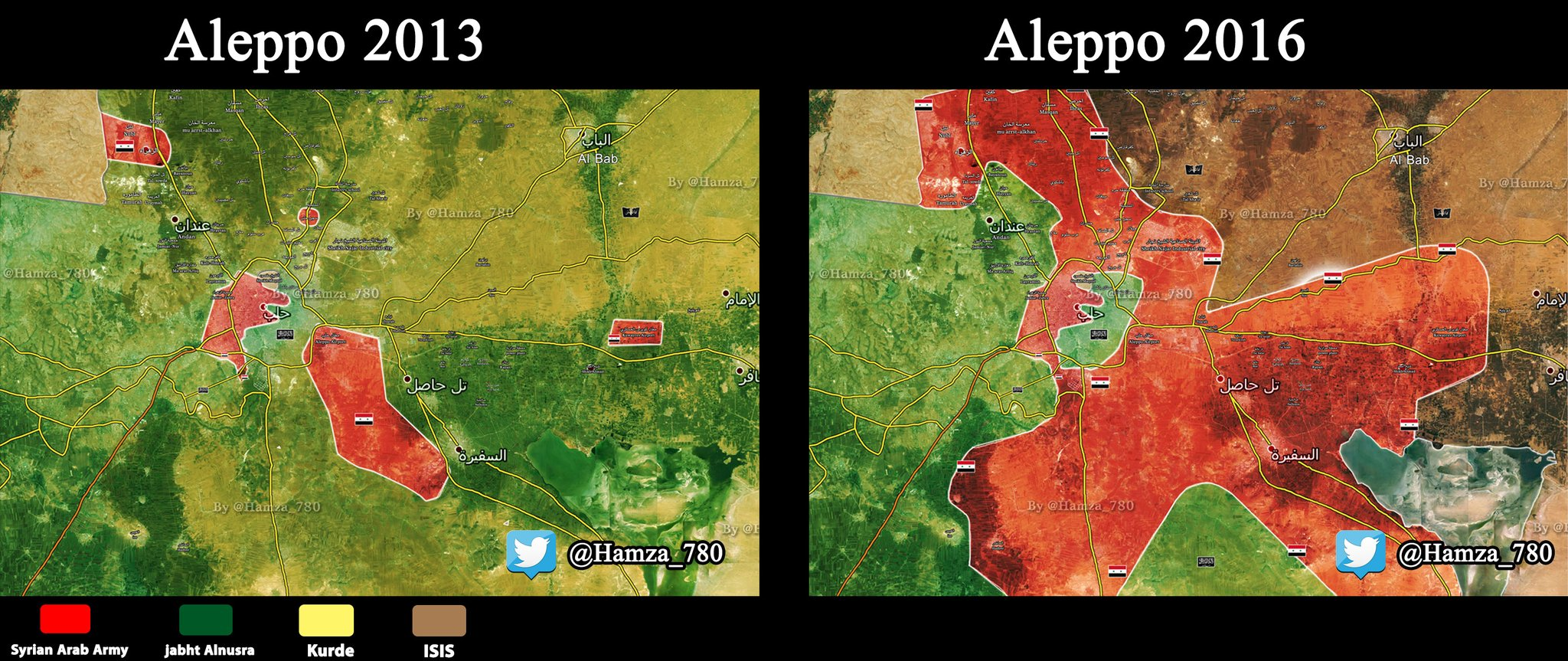 [Image] Military situation in Aleppo – 2013 vs. 2016