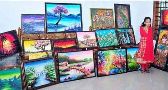 [Image] These paintings are by very talented person Swapna Augustine from Pothanicad, Kerala,India, She was born without arms but She paints by using her toes.