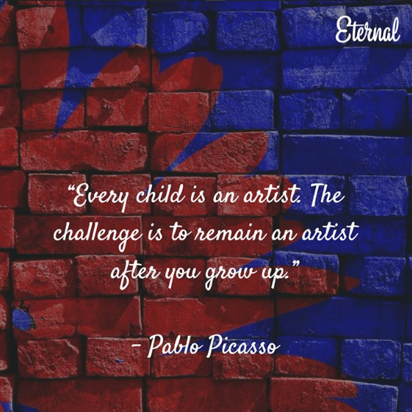 Every child is an artist. the challenge is tho remain an artist after you grow up :)
