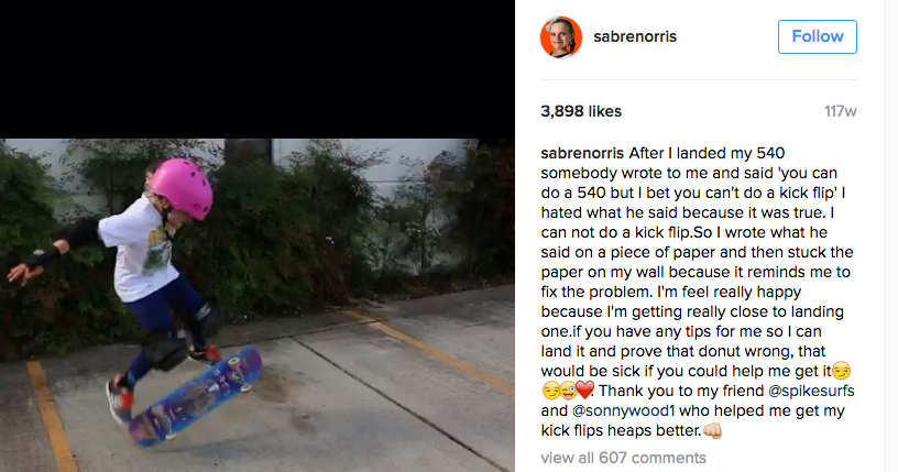 [IMAGE] This 9 year old skateboarder/surfer inspired the hell out of me with this post about never giving up