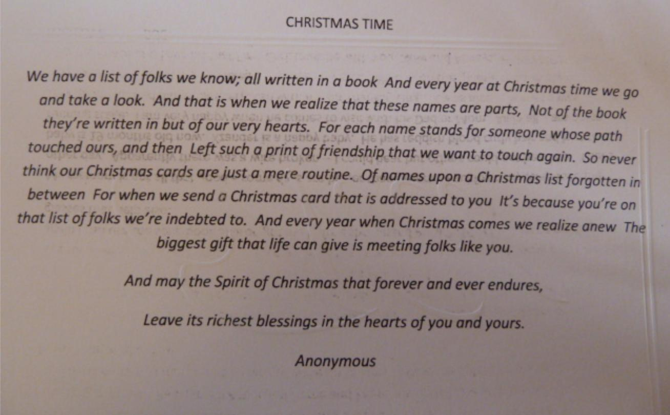 [About writing holiday cards][Image]Paths that cross ours…