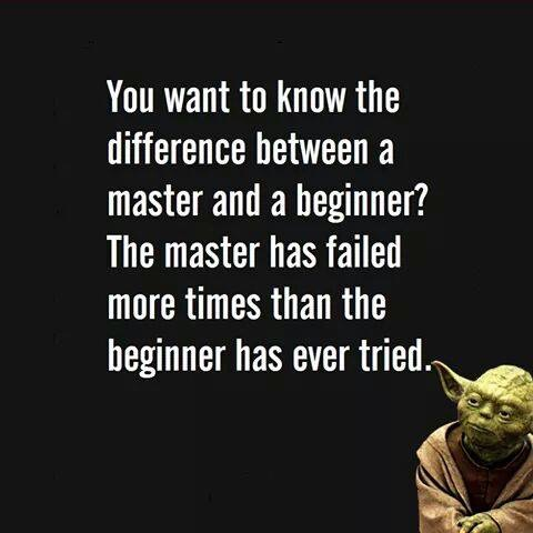 You want to know the difference between a master and a beginner?  The master has failed more times than the beginner has ever tried.