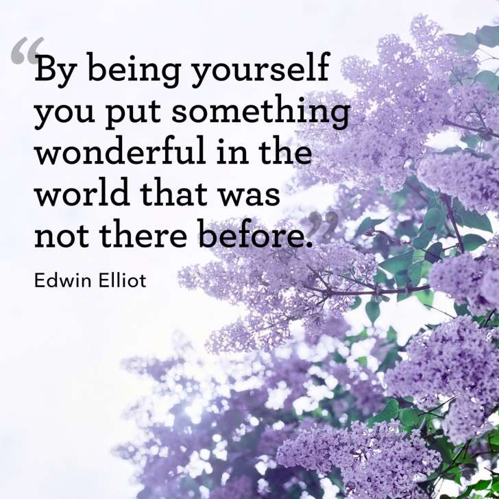 By being yourself you put something wonderful in the world that was not there before. – Edwin Elliot