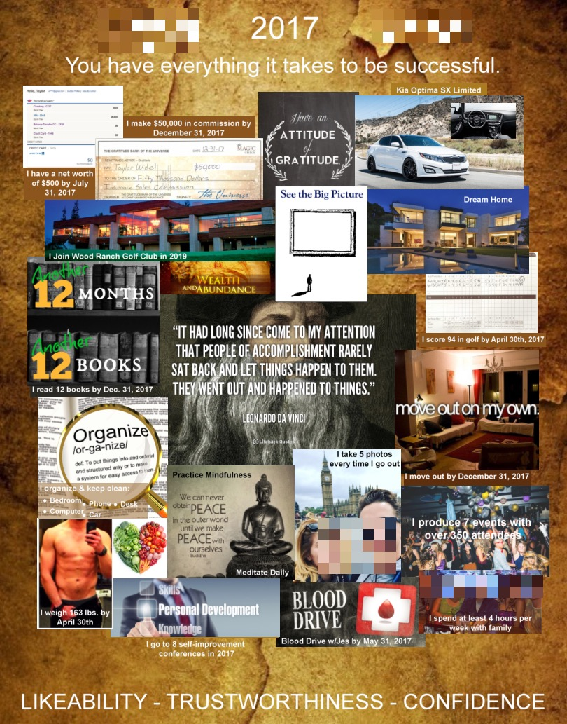 Just Finished the First Draft of my 2017 Vision Board. Any Pointers? [Image](Designed in the Online Designing Program of a Printing Website.)
