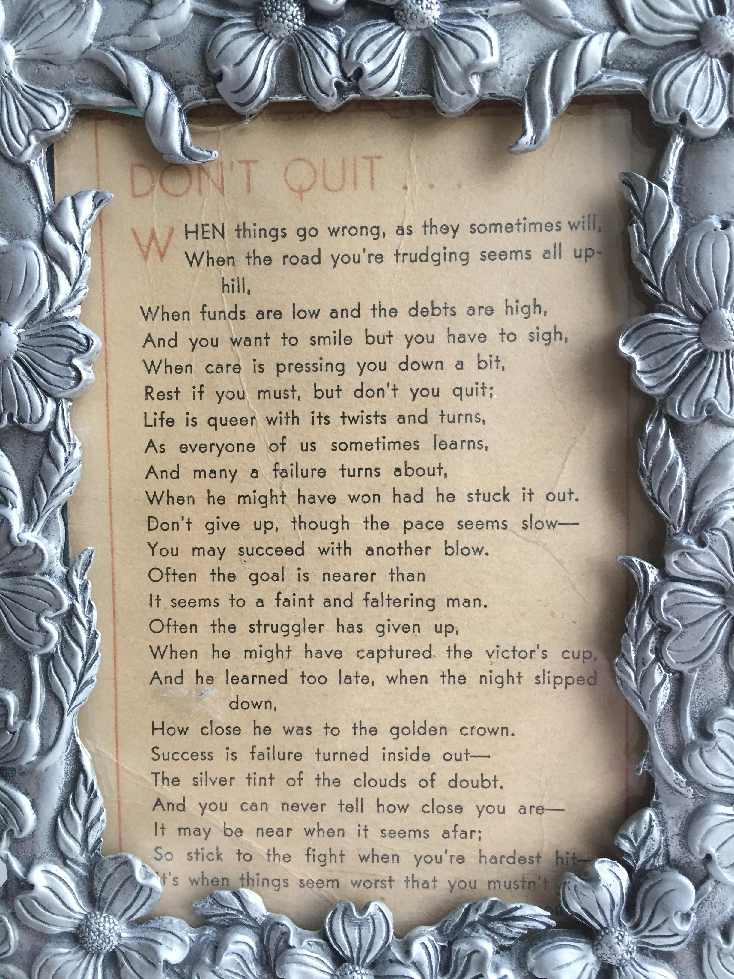 [Image] A Poem that remained on my grandfather's desk for 50 years.