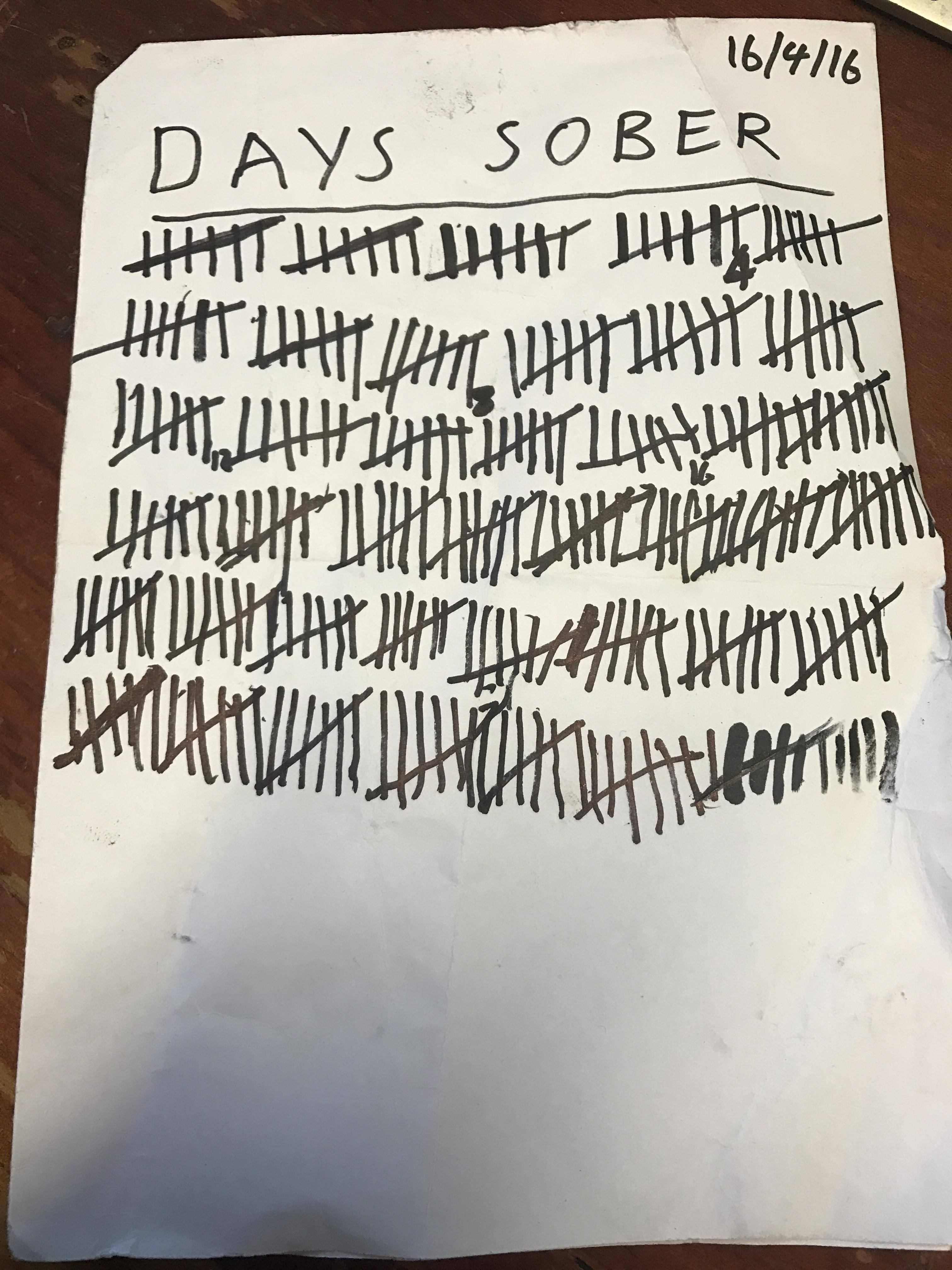 [Image] This morning, my amazing wife pointed out that I hadn't marked my days sober like I use too. Life can get better!
