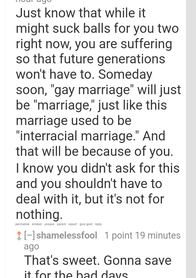 [Image]I made a post about some struggles of being gay and this reply got to me.