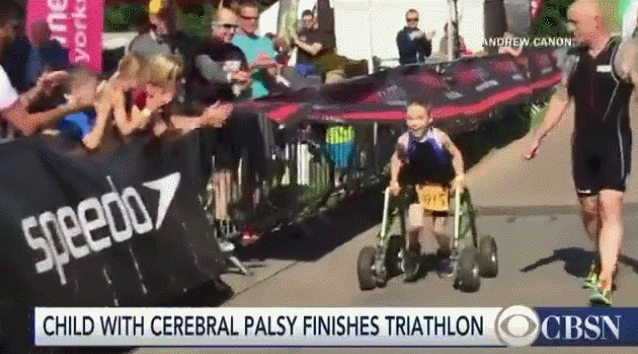 [image] 'The bird who dares to fall is the bird who learns to fly.' 8 year old Bailey Matthews finishes triathlon on his own terms.