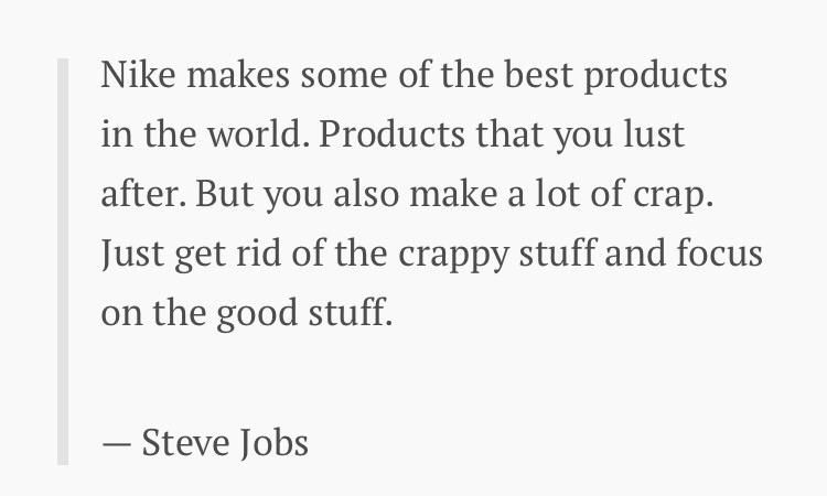 [Image] Steve Jobs' single piece of advice on essentialism that saved Apple & Nike.