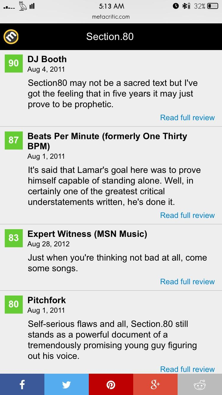 [Image] Reviews of Kendrick Lamar's first album which was released in 2011. His latest album, which was released April 16, now sits safely as the greatest album ever on Metacritic. Showing that hard work and dedication can make even the smallest stars shine the brightest.