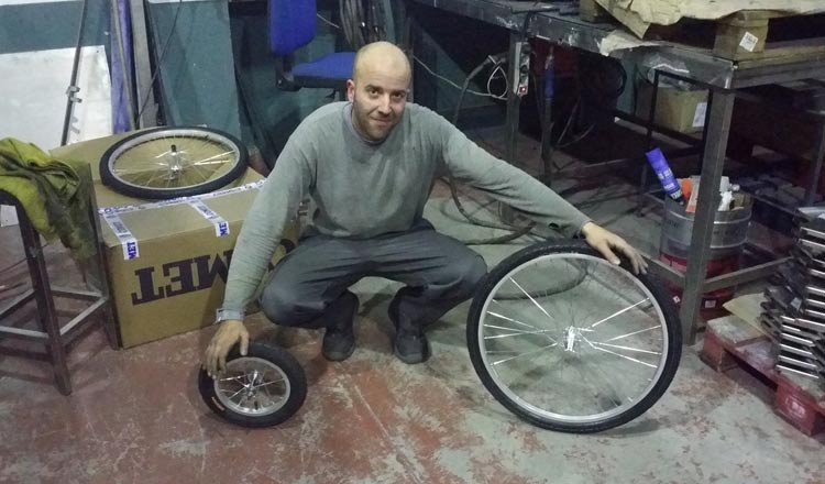 [Image] This is Jaime (La Coruña, Spain) , a welder who makes wheelchairs for disabled dogs. And he does it for free.
