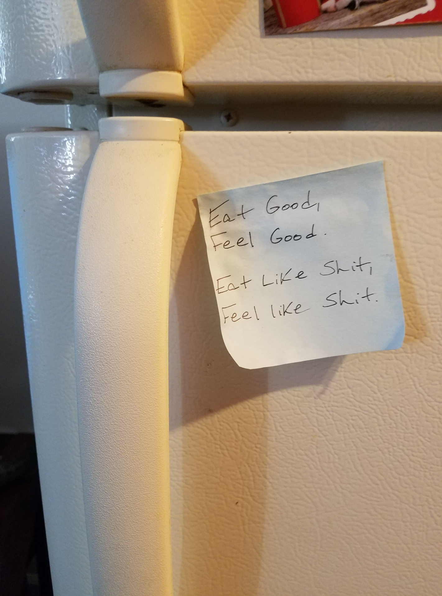 [Image] Stupid little note I stuck on my fridge a while ago that time and time again has helped me cook a solid healthy meal for myself when I'm feeling lazy and contemplating a Wendy's run. Which is pretty often