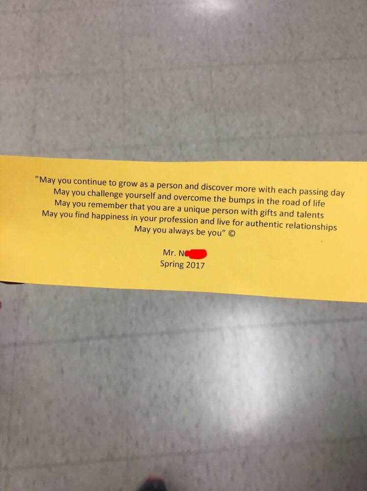 [Image] Teachers passing words after we all finished our final