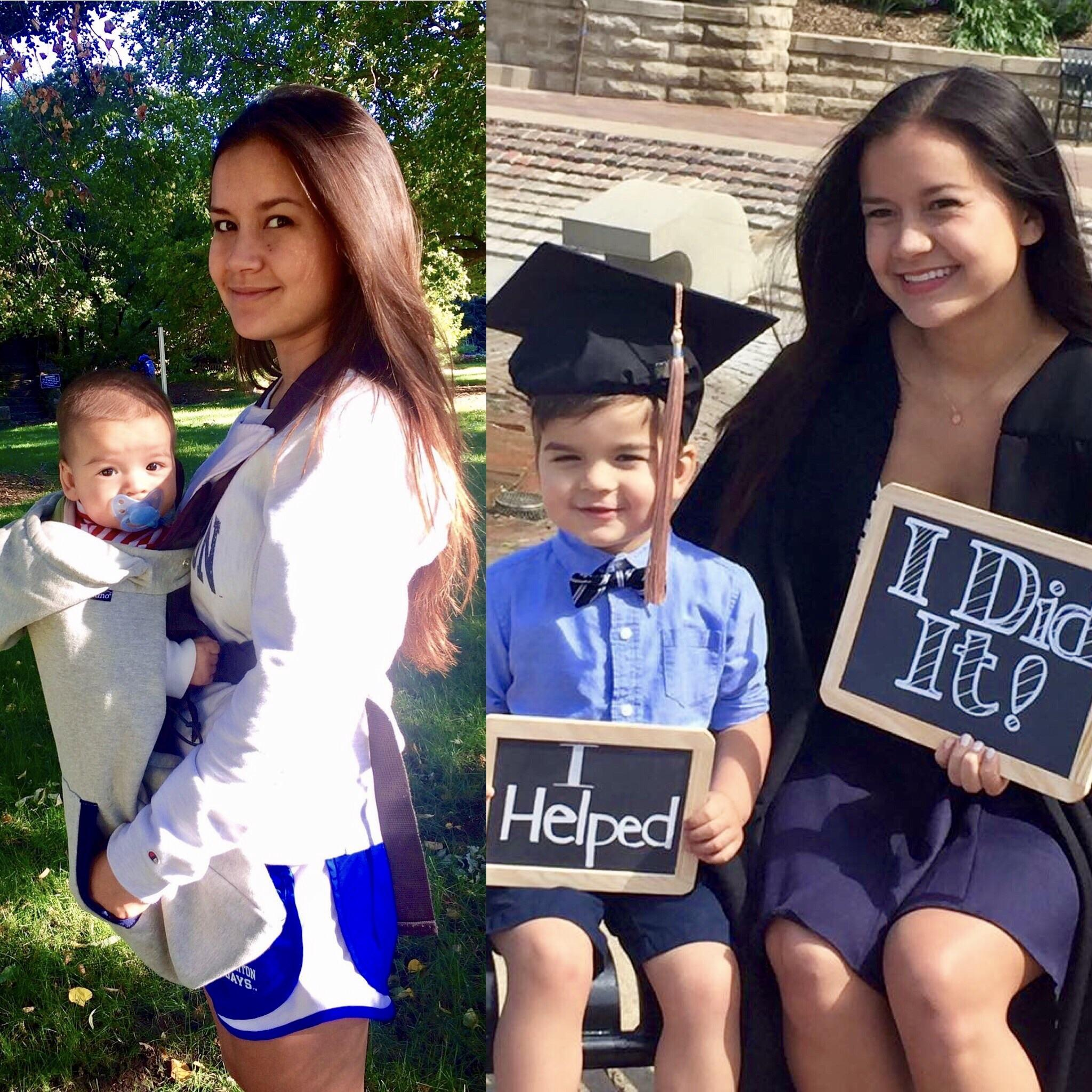 In 2012, sophomore year in college and in 2016, on graduation day [image]
