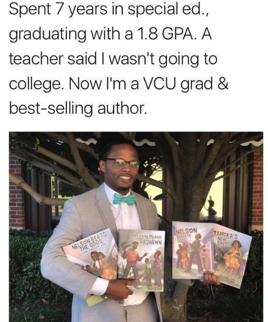 "[Image] This could be you. Never let a ""disability"" or anyone else hold you back. Achieve. [x post from r/BlackPeopleTwitter]"