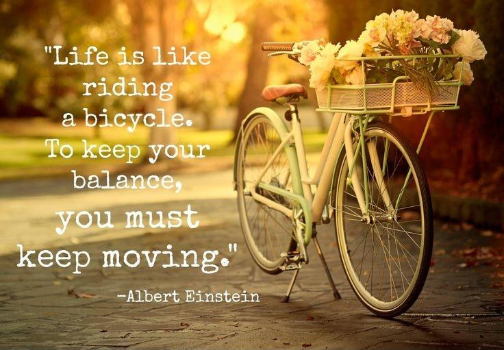 "[Image] ""Life is like riding a bicycle…"" Albert Einstein"