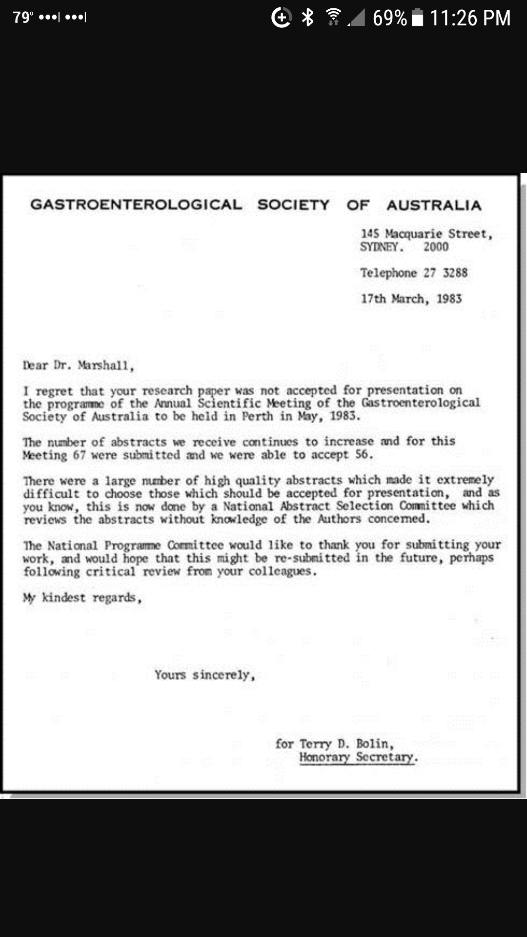 [Image] Rejection letter Barry Marshall received for work that later won a Nobel Prize.