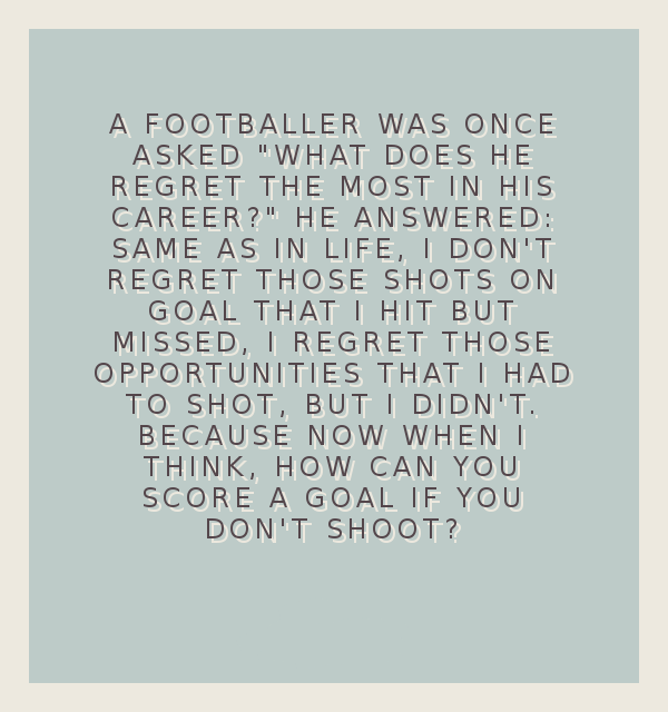 "[Image] A footballer was once asked ""What does he regret the most in his career?"""