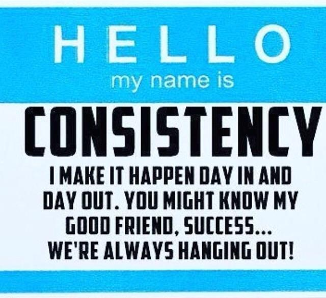 [Image] Hello, my name is Consistency