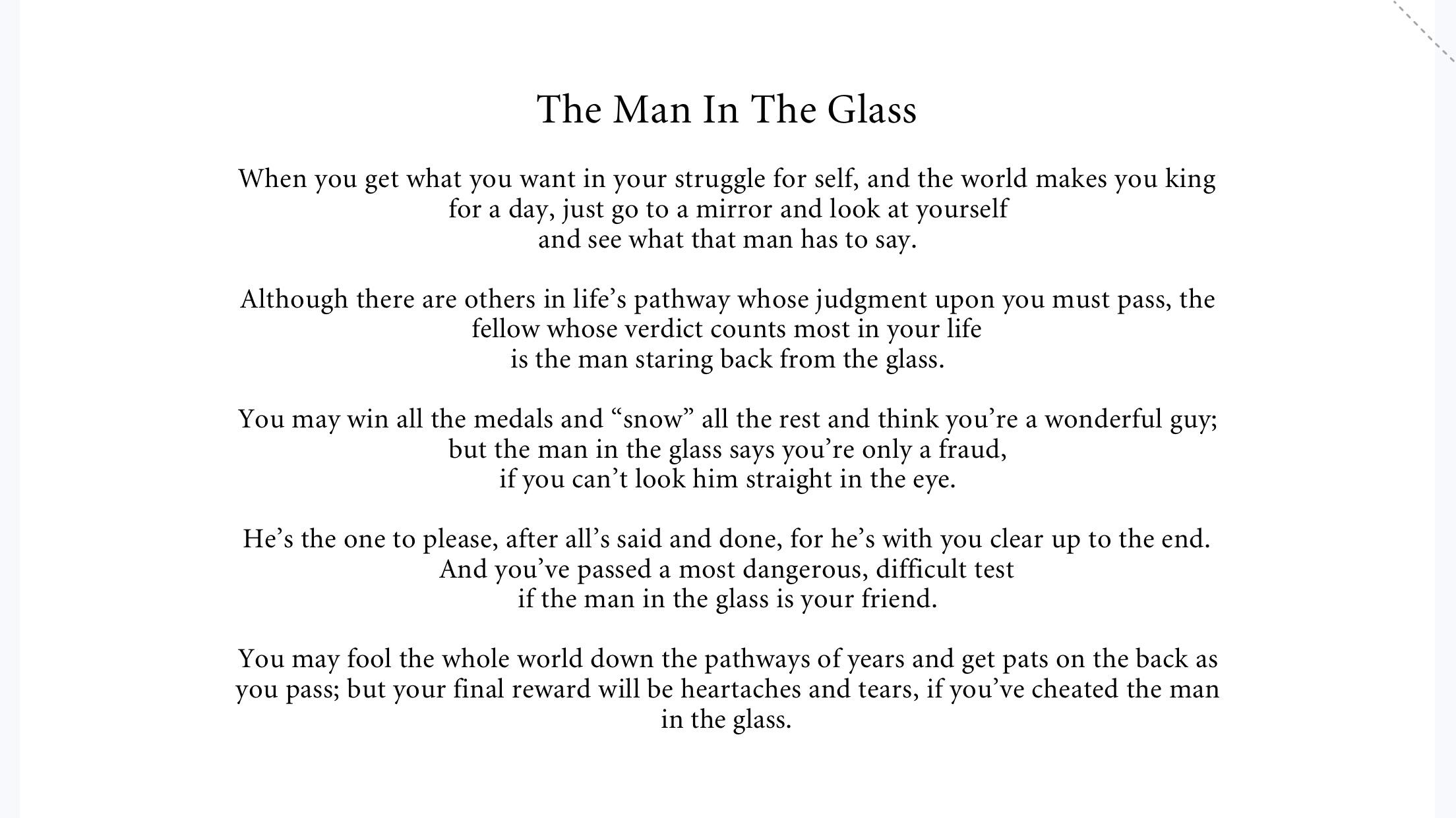 "[Image] ""The Man In The Glass"""