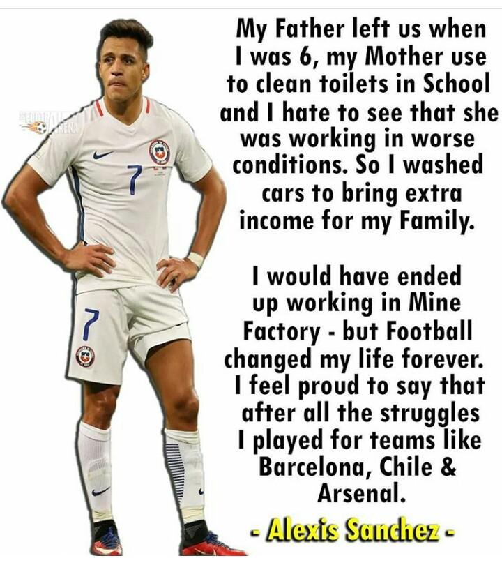 [Image] Arsenal player Alexis Sanchez has one of the best rags to riches story. Hardwork always pays.