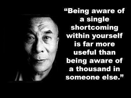 Being aware of a single shortcoming within yourself is far more useful than being aware of a thousand in someone else.