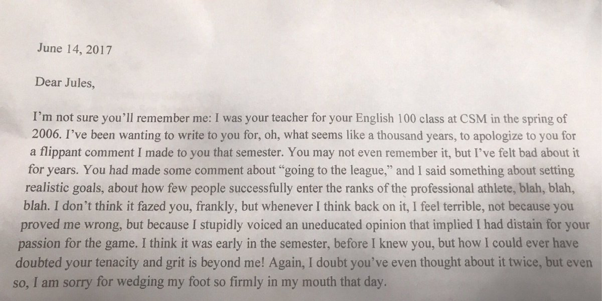 [Image] Julian Edelman receives apology letter from his teacher