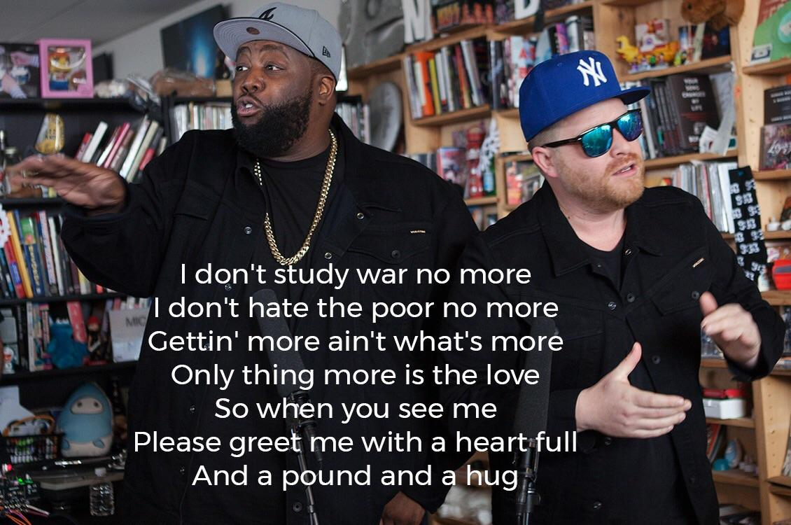 [Image] A message of peace. (X-post from r/runthejewels)