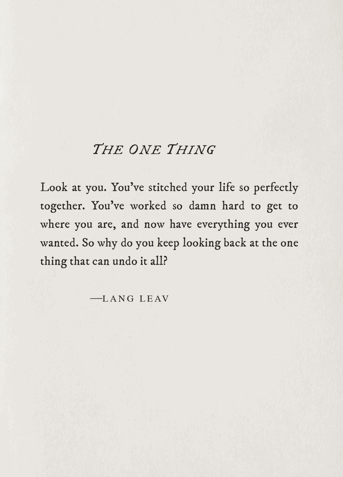 [Image] The One Thing :)