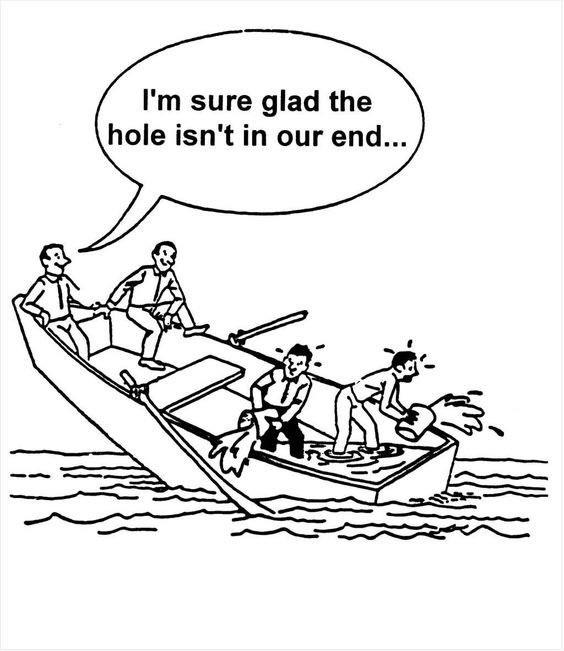 I'm sure glad the hole isn't in our end…