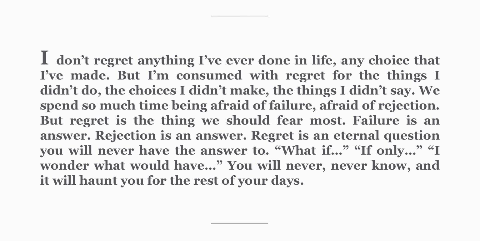 "[Image] Regret (From ""Born a Crime"" by Trevor Noah)"