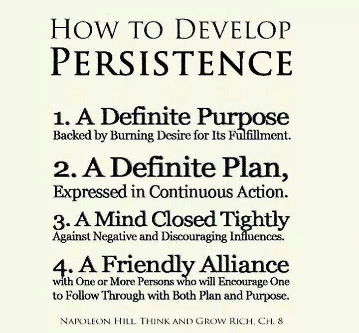 How to develop persistence