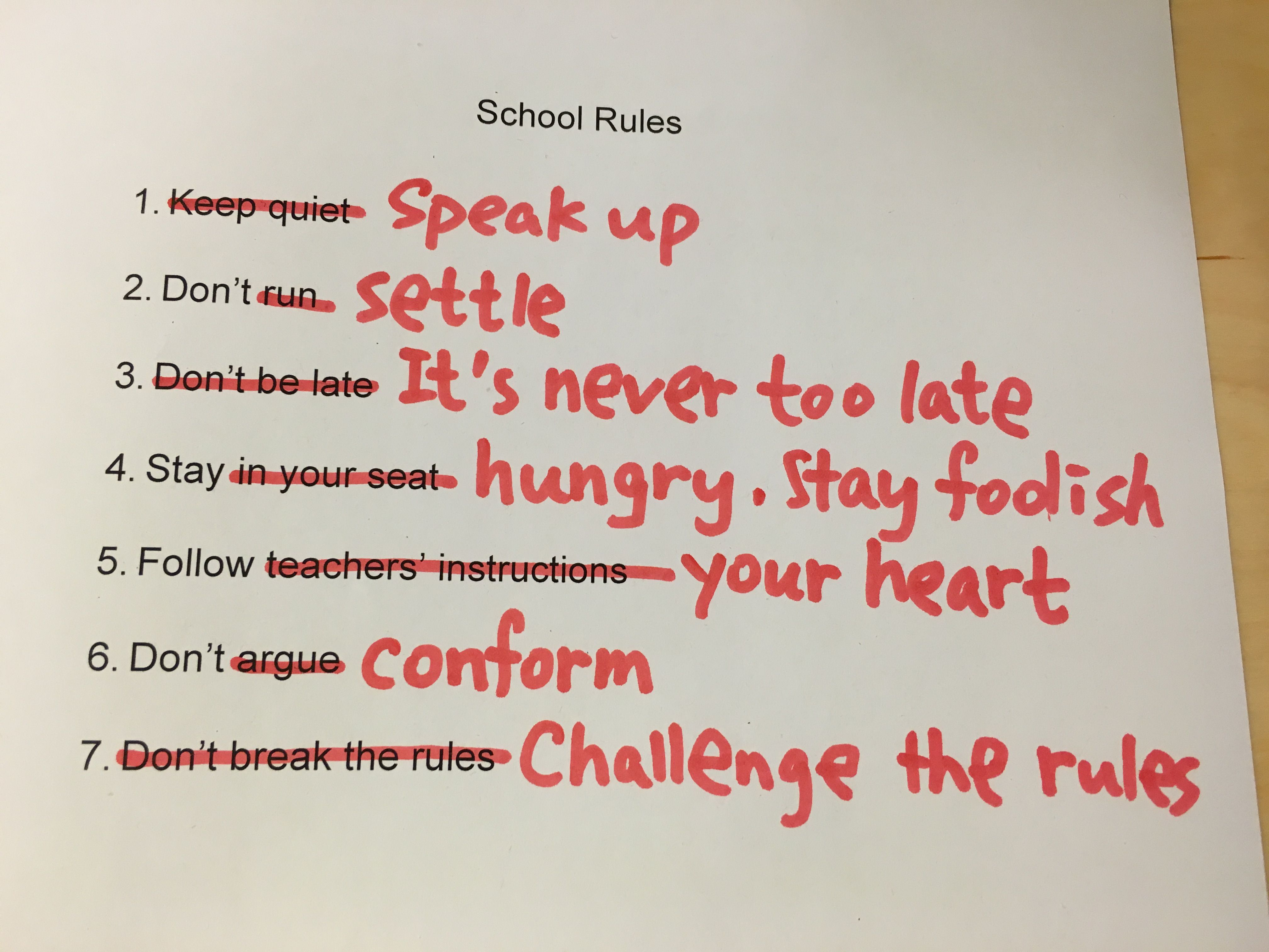 [Image] When school rules are turned into rules of life