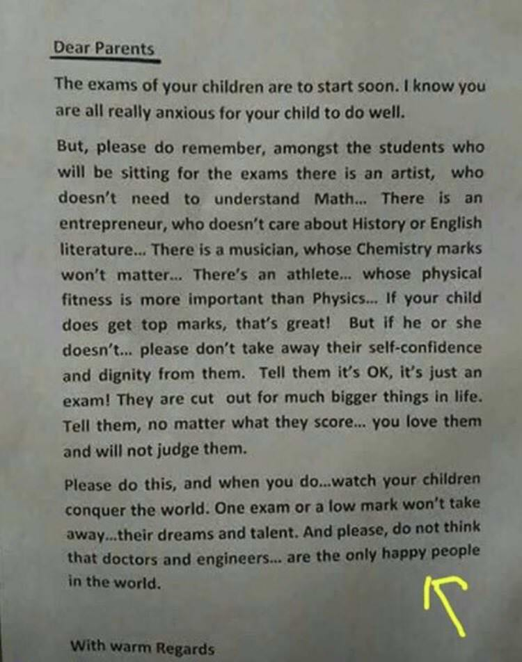 [Image] A school principal sent this letter to the parents before the exams