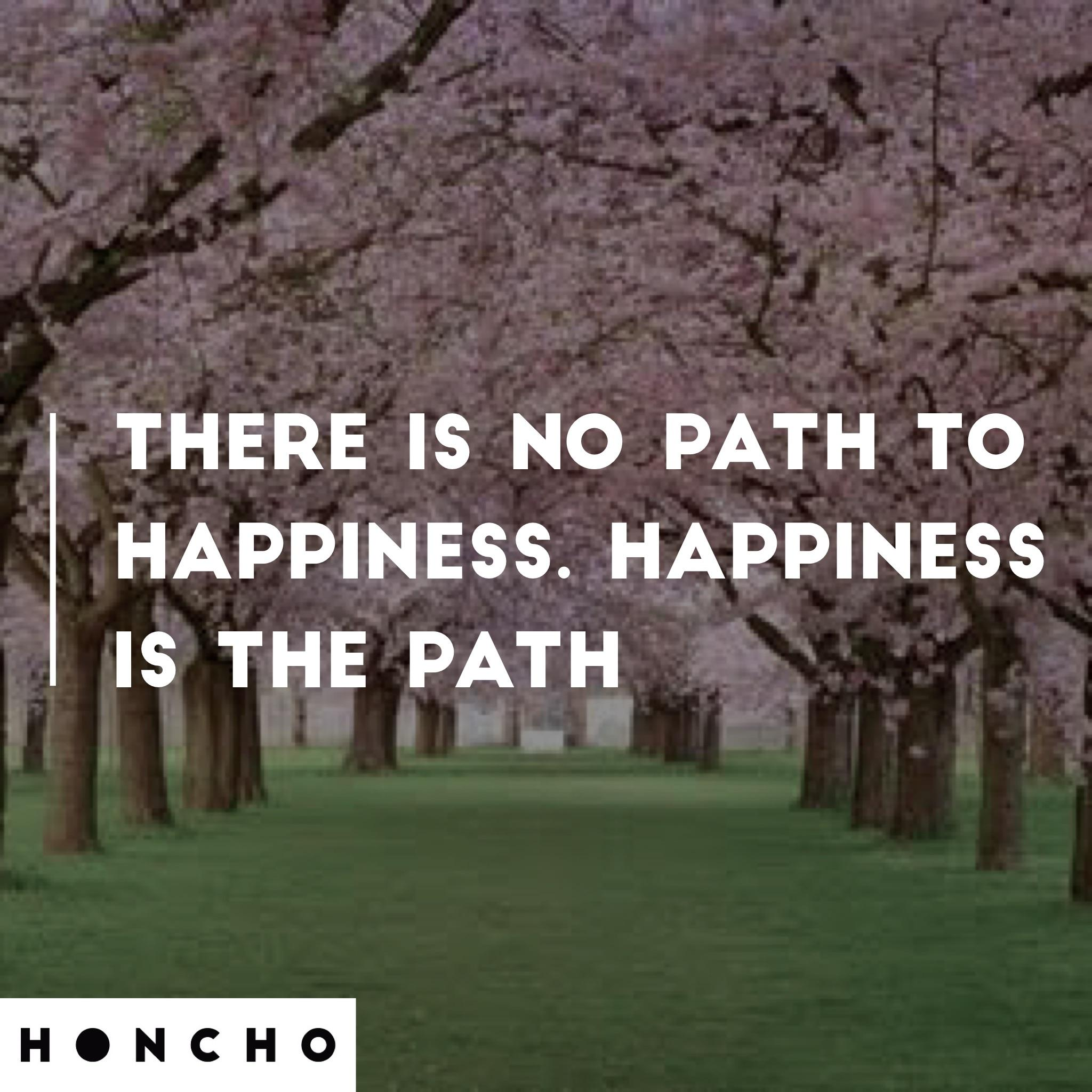 [image] There is no path to Happiness. Happiness is the path