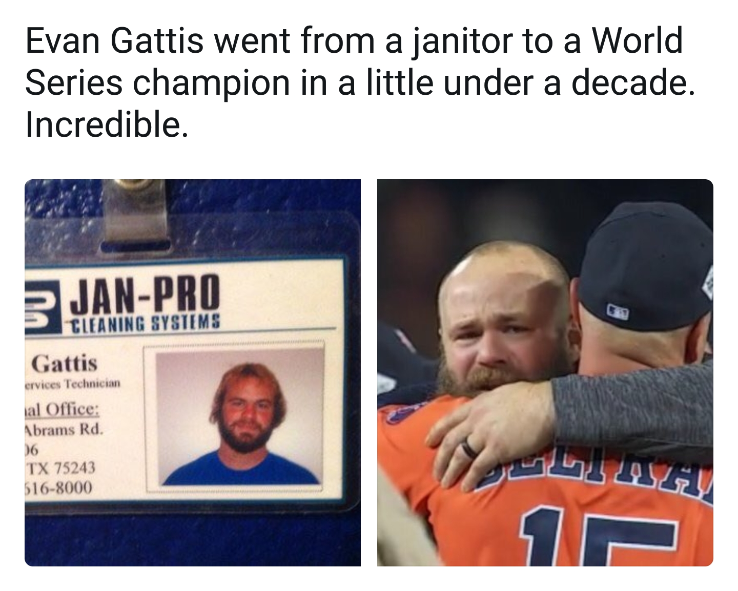 [Image] Houston Astros player used to be a janitor