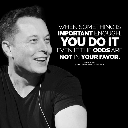 [Image] When something is important enough, you do it even if the odds are not in your favor. – Elon Musk