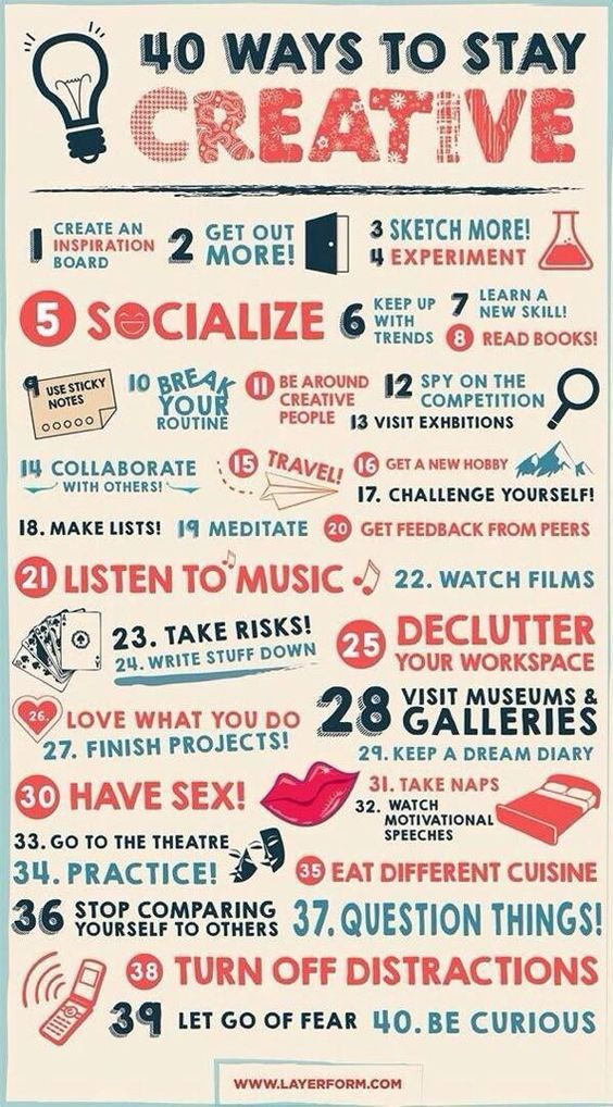 40 Ways To Stay Creative When You're Bored [Image]
