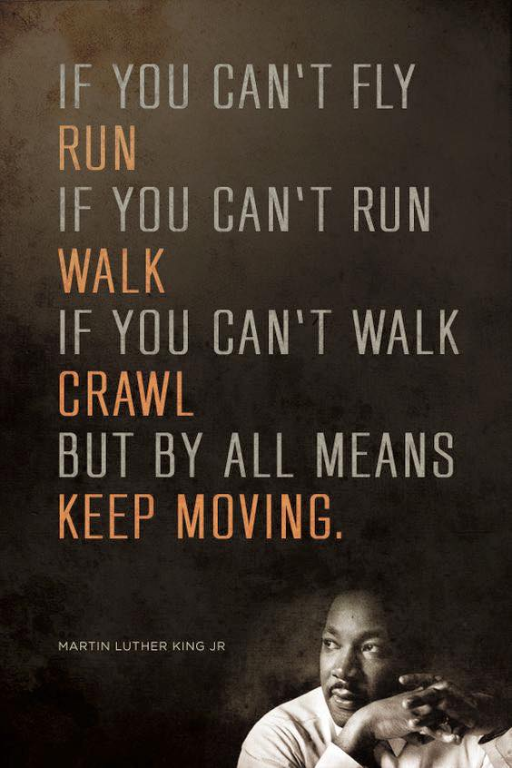 IF YOU CAN'T FLY RUN IF YOU CAN'T RUN WALK IF YOU CAN'T WALK BRAWL BUT BY ALL MEANS KEEP MOVING. https://inspirational.ly