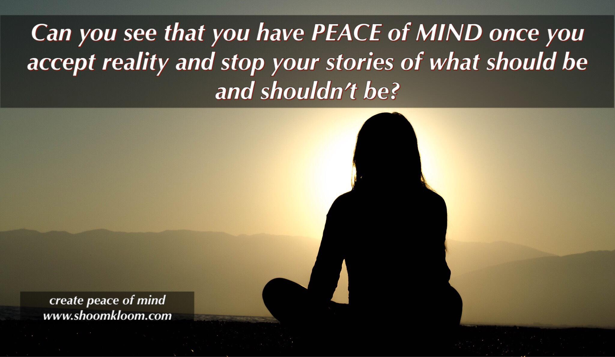 Can you see that you have PEACE of MIND once you accept reality and stop your stories of what should be and shoutdnzt an create peace of mind www. shoomkloom.com https://inspirational.ly
