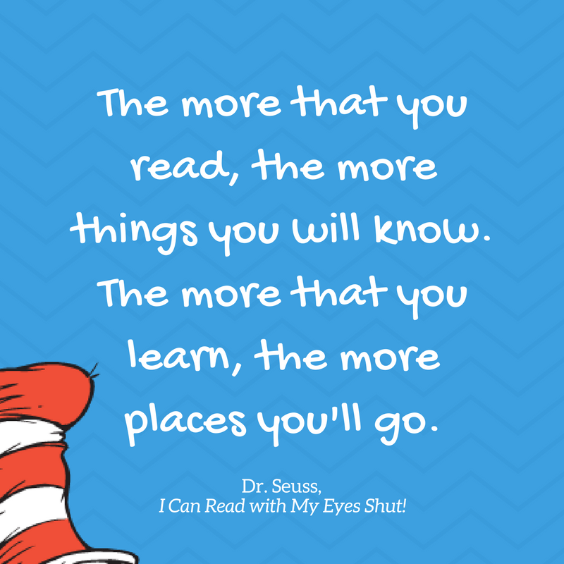 """The more +ha+ you read, We more Wings you wi"""" know. The more +ha+ you emm, We more pmces you'\ go. Dr. Seuss, I Can Read with My Eyes Shut! https://inspirational.ly"""