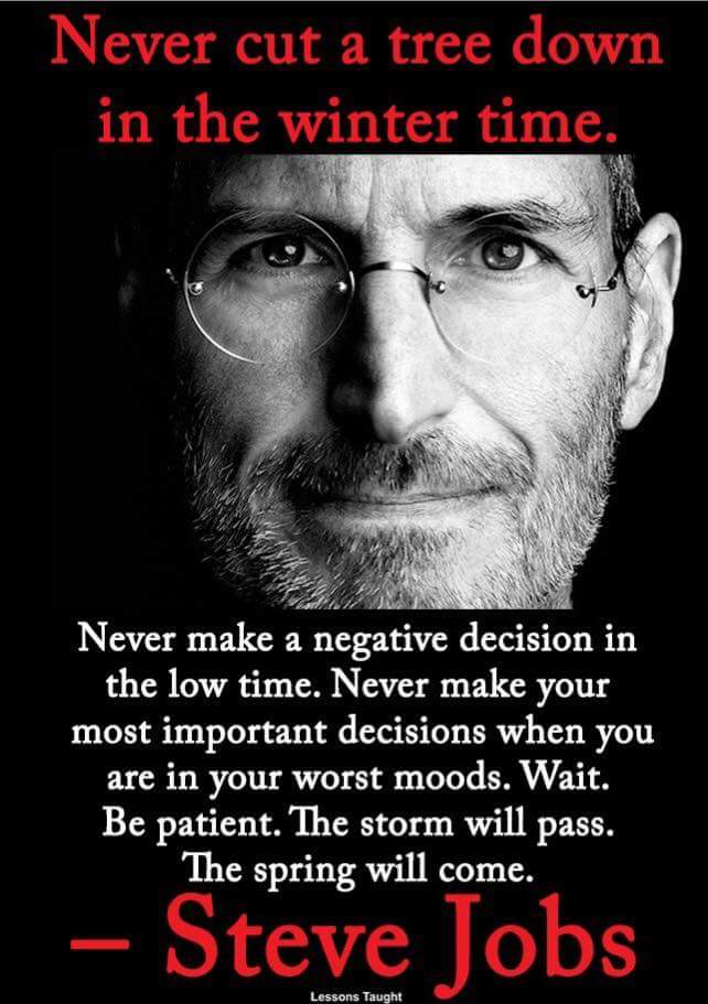 Never make a negative decision in the low time. Never make your most important decisions when you are in your worst moods. Wait. Be patient. The storm will pass. The spring will come. https://inspirational.ly