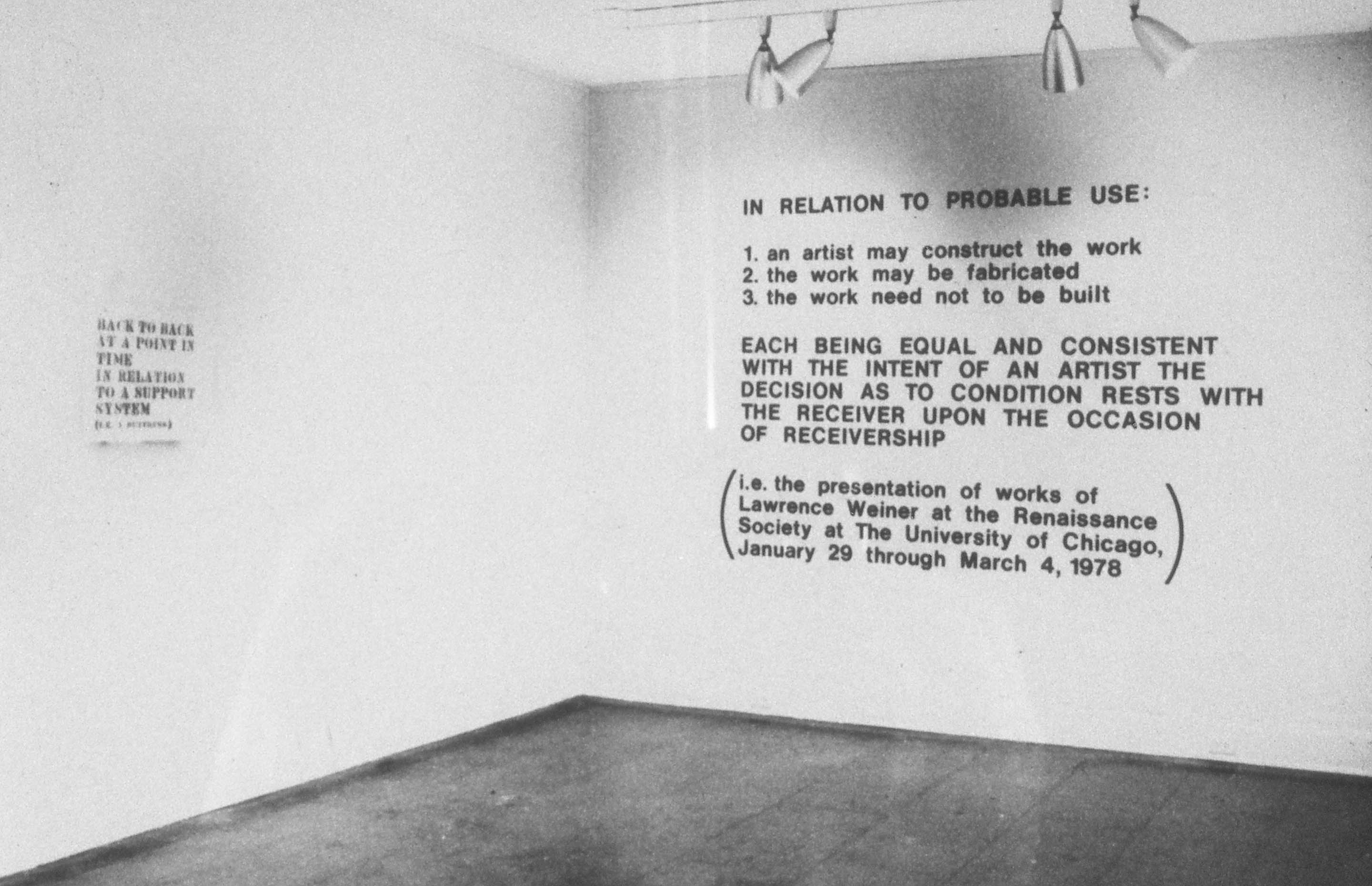 """IN RELATION TO PROBABLE USE"" – Lawrence Weiner[2880×1860]"