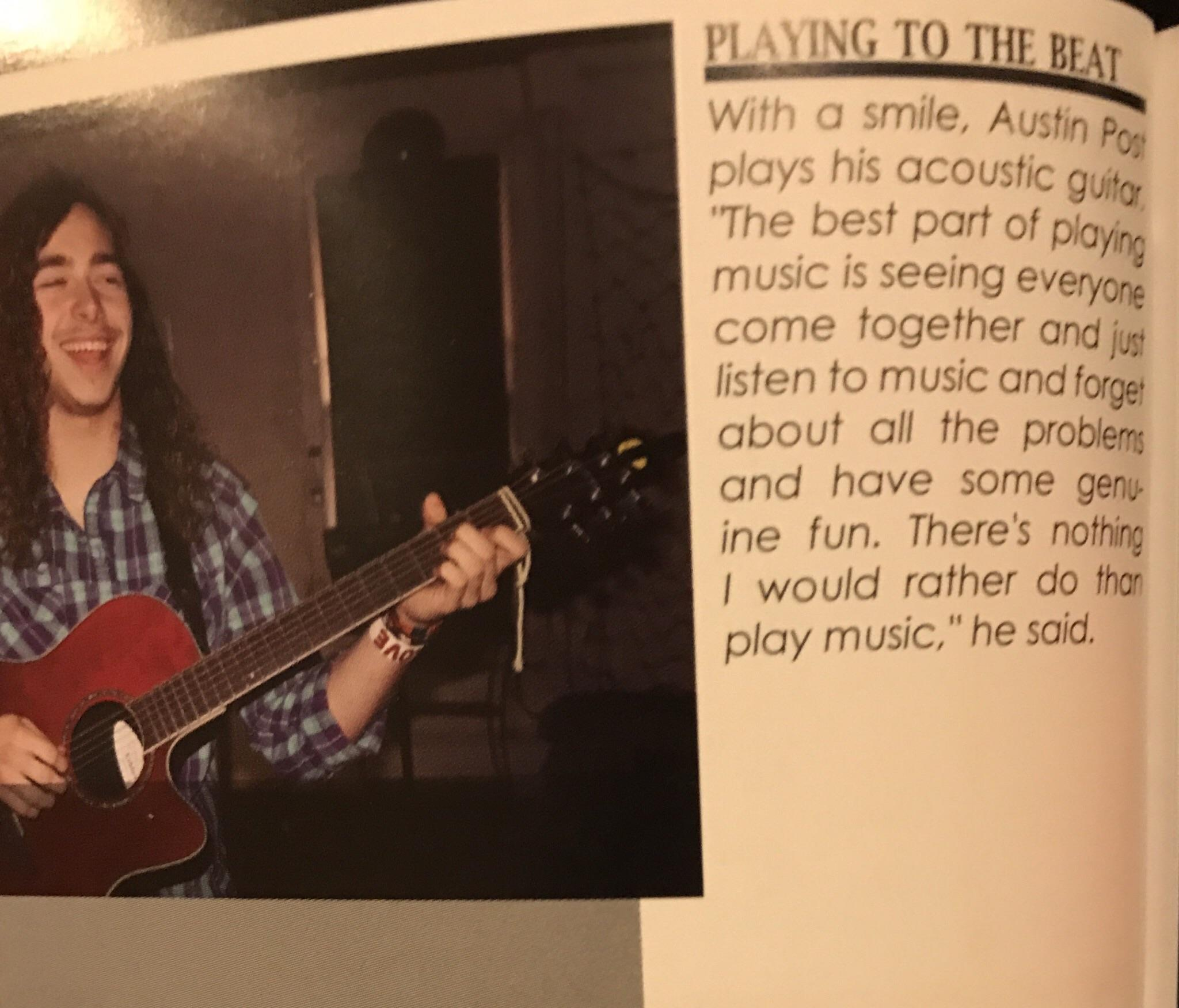 [Image] Post Malone in his Highschool yearbook. Proof that dreams do come true.