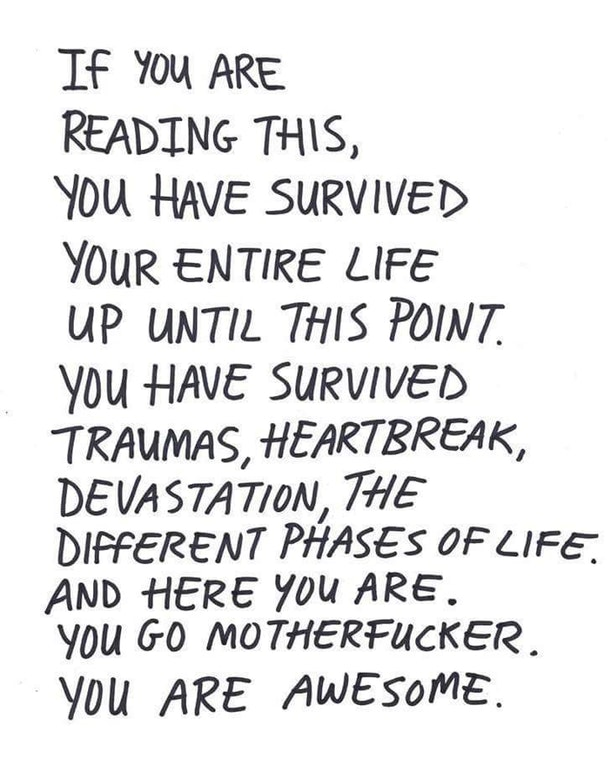 IF You ARE READING THS, You HAVE SURVIVED YOuR ENTIRE LIFE UP UNTIL THIS POM/7. you HAVE SURVIl/ED A TRAuMAS, HEARTBREA K, DE VA STA T/oN, ME DIFFERENT PHASE: oFUFE, AND HERE You ARE. You Go MOTHERFHCKER. V011 ARE AWESOME. https://inspirational.ly