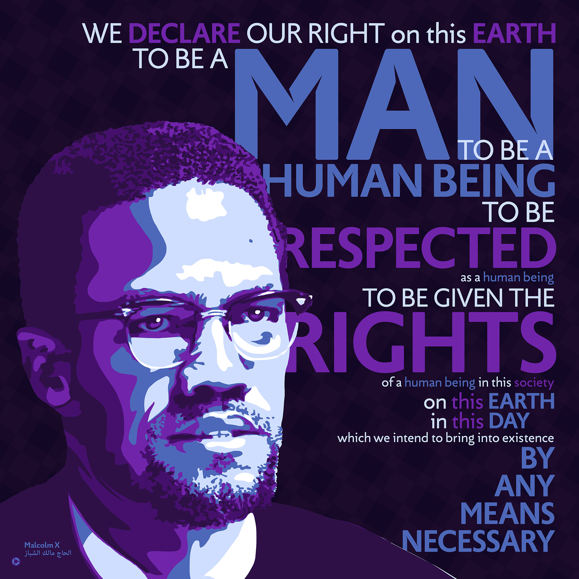 """We declare our right on this earth to be a man…"" – Malcolm X [2000×2000] [OC] [OS]"
