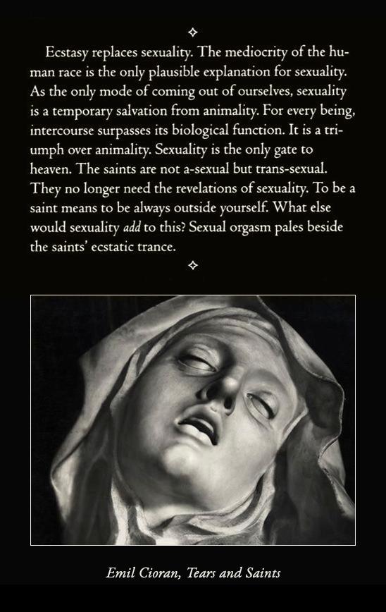"""""""Ecstasy replaces sexuality…"""" —Emil Cioran [548×868] [OC]"""